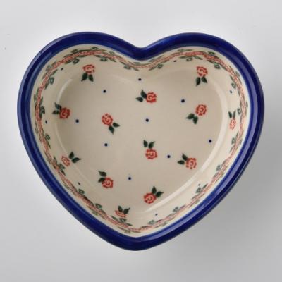 波蘭陶 玫瑰花圈系列 愛心造型烤盤 波蘭手工製