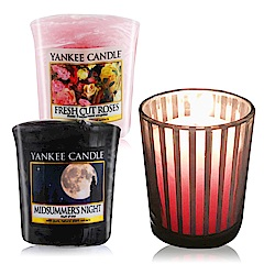 YANKEE CANDLE 香氛蠟燭-仲夏之夜+玫瑰49gX2+祈禱燭杯