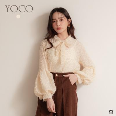 東京著衣-YOCO 華麗時裝羽毛蝴蝶結領澎澎寬袖上衣
