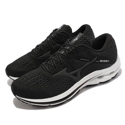 Mizuno 慢跑鞋 Wave Inspire 17 超寬楦 男鞋 美津濃 輕量 高避震 支撐 膠底 黑 灰 J1GC2145-34
