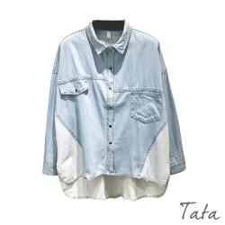 牛仔布拼接條紋上衣 TATA-F