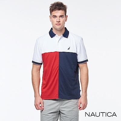 Nautica拼接設計吸濕快乾袖POLO衫-白色