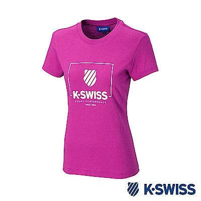 K-SWISS KS Logo W/Frame Tee印花短袖T恤-女-桃紅