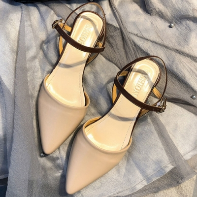 KEITH-WILL時尚鞋館 狂賣千雙素面粗跟鞋-杏