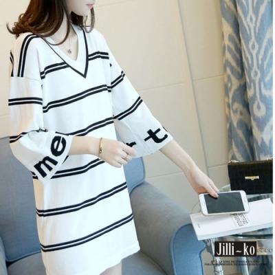 JILLI-KO 韓國BF風百搭條紋V領上衣- 白色