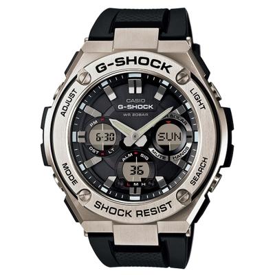 G-SHOCK絕對強悍分層防護構造防震概念休閒錶(GST-S110-1A)-銀框X黑53mm