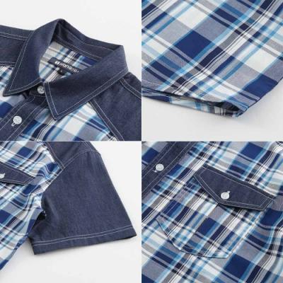 Hang Ten - 男裝 - 流行休閒格紋襯衫 - 藍