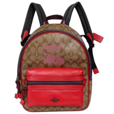COACH卡其C Logo撞色紅邊櫻桃圖印中款後背包