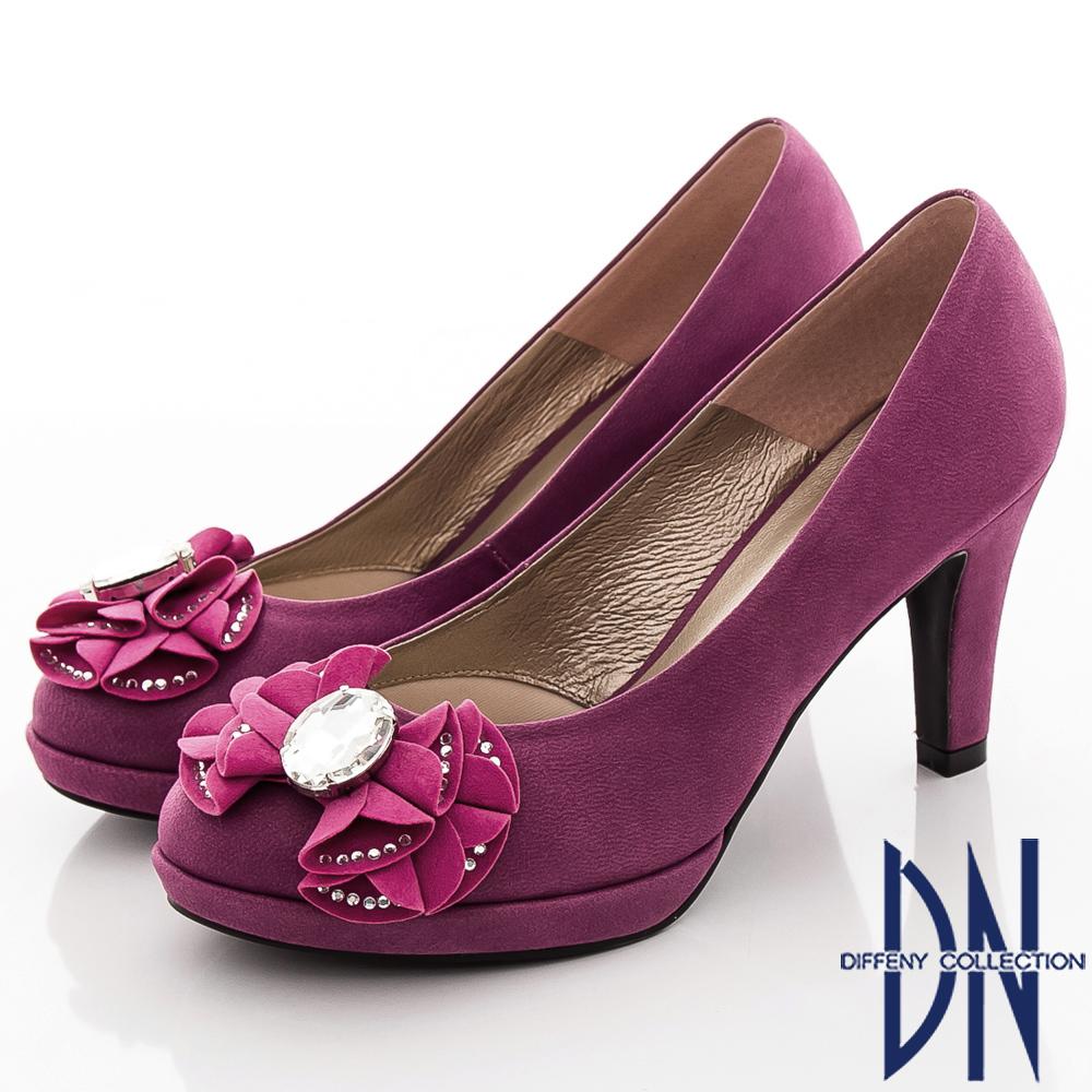 DN 法式優雅 鑲鑽蝴蝶結高跟鞋-紫紅