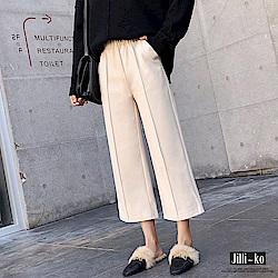 Jilli-ko 韓版加厚毛呢闊腿褲-杏