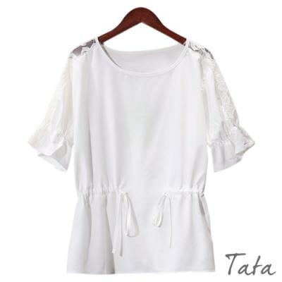 蕾絲肩袖腰綁帶上衣 共二色 TATA-(M~XL)