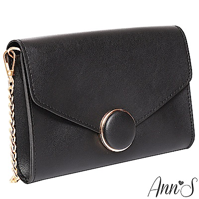 Ann'S都會時髦-質感金邊圓釦信封小方包-黑