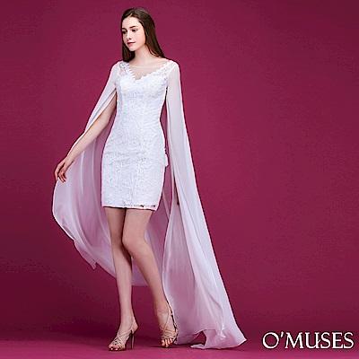 重工蕾絲雪紡禮服-OMUSES