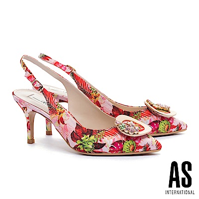 高跟鞋 AS 熱帶風情金屬鑽釦花布繫帶高跟鞋-粉