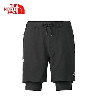 The North Face北面男款黑色吸濕排汗防潑水運動短褲