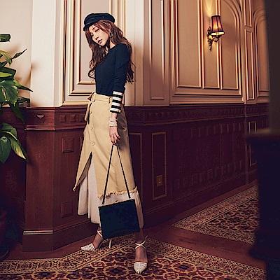IREAL排釦翻領半身裙