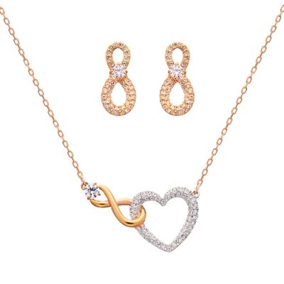 SWAROVSKI施華洛世奇 INFINITY HEART水晶套組(項鍊+針式耳環)
