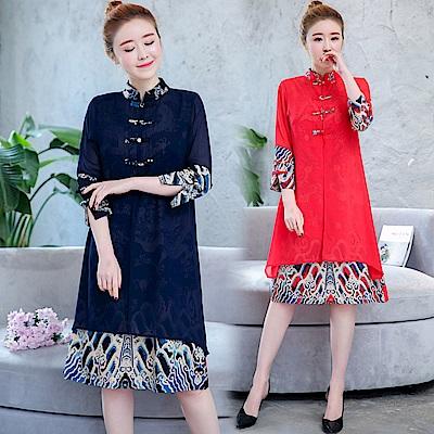 中國風改良式旗袍印花透紗連身裙M-3XL共二色-REKO