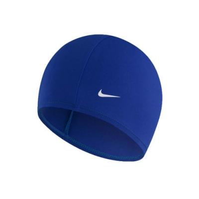 NIKE SWIM 成人尼龍泳帽-游泳 戲水 海邊 沙灘 93065-494 藍白