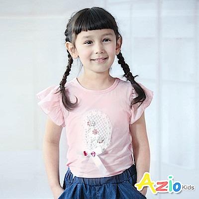 Azio Kids  上衣 針織網格花圈蝴蝶結網紗荷葉袖上衣(粉)
