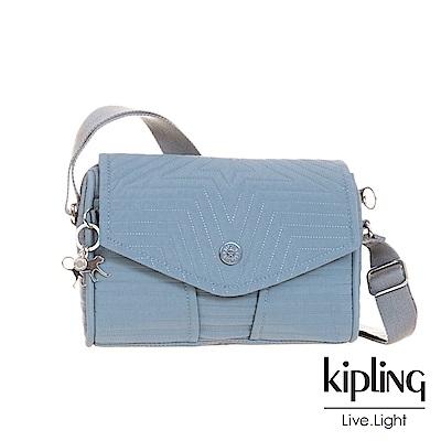 Kipling低調冰湖藍壓紋掀蓋肩背包-READY NOW S