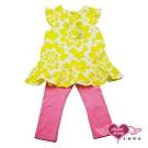 【天使霓裳-童裝】亮麗花樣 兒童短袖長褲兩件組套裝(黃)