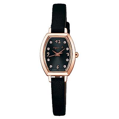 agnes b.太陽能聖誕甜心晶鑽女錶(BU9035P1)-黑/23mm