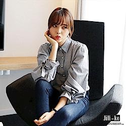 Jilli-ko 韓版條紋燈籠袖襯衫-灰