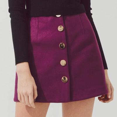 AIR SPACE 金屬鈕釦絨布A字短裙(紫)