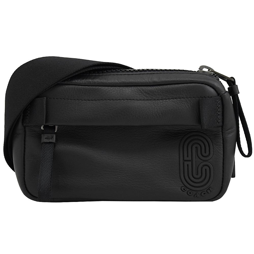 COACH COACH C LOGO牛皮拉鍊腰包/胸口包(黑 小)
