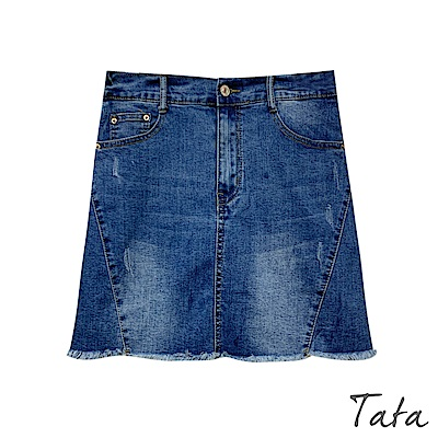 水洗微刷破不收邊牛仔褲裙 TATA-(S~L)