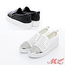 MK-真皮-韓版透氣星星鏤空水鑽懶人鬆糕鞋2色