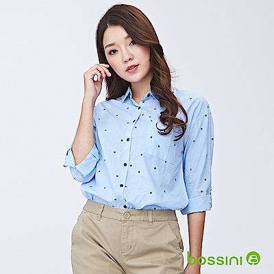 bossini女裝-印花七分袖襯衫05藍