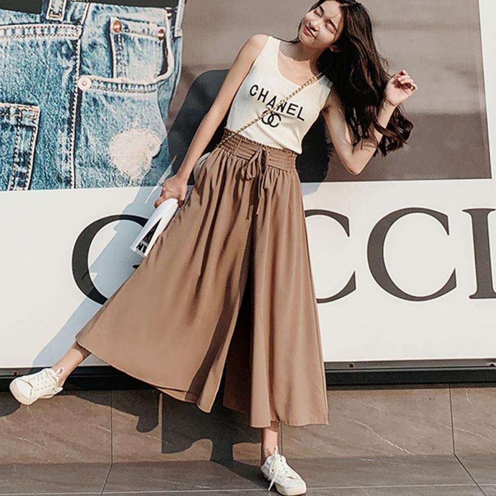 La Belleza假腰封綁帶鬆緊腰側口袋素色大擺裙中長裙