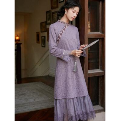 復古風紫色小立領蕾絲衣袖衣襬洋裝S-L-維拉森林