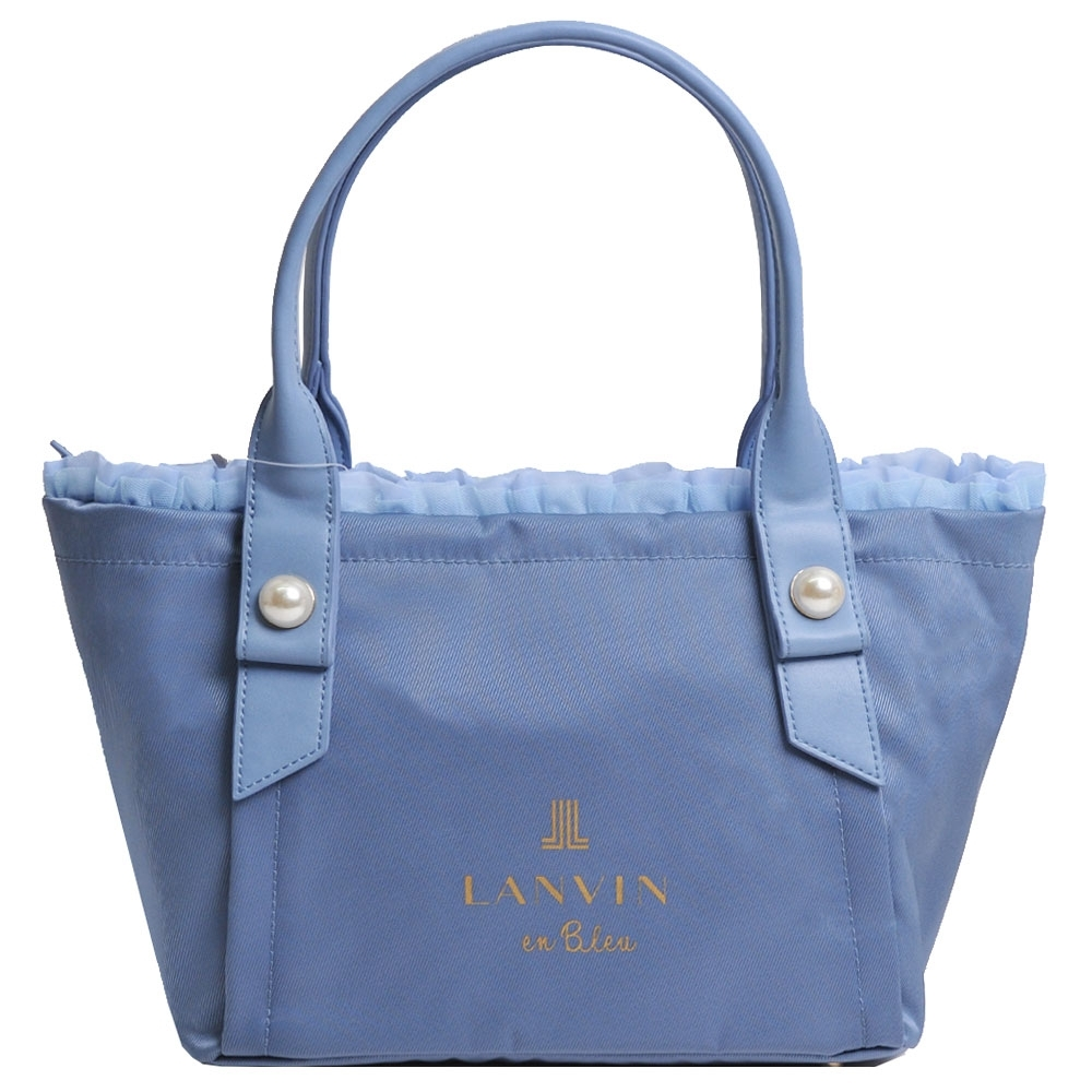LANVIN en Bleu 蕾絲滾邊珍珠風品牌LOGO圖騰手提肩背包(水藍色)