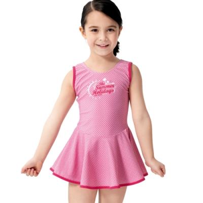 沙兒斯 兒童泳裝 粉紅色系繁星點點連身裙式女童泳裝