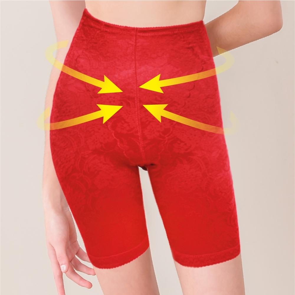 Clany可蘭霓 台灣製3段提拉俏臀四角 M-L 塑身褲 熱情紅