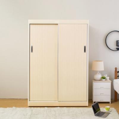 Birdie南亞塑鋼-5.2尺二推/拉門塑鋼衣櫃(白橡色)-155x61x200cm