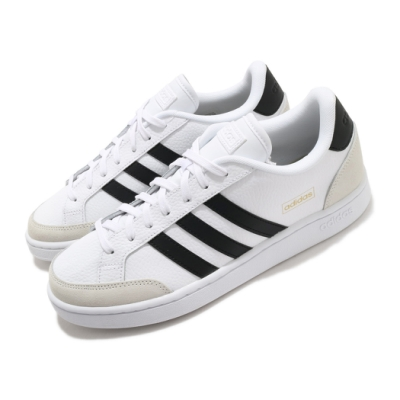 adidas 休閒鞋 Grand Court SE 復古 男鞋 愛迪達 三線 皮革鞋面 球鞋穿搭 白 黑 FW3277