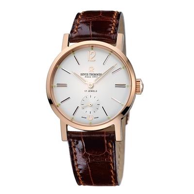 REVUE THOMMEN 梭曼錶 全球限量典雅小秒針機械錶男錶 白面x鱷魚皮帶/36mm (17082.3562)
