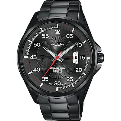 ALBA 雅柏 主張自我原創手錶(AS9H41X1)-鍍黑/44mm