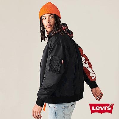 Levis 男款 飛行外套 雙面穿 內裏蘇格蘭格紋 單袖撞色大LOGO拼接