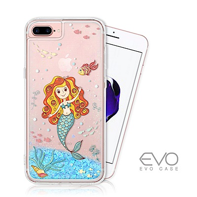 EVO CASE iPhone 6/7/8 plus 藍色亮片流沙手機軟殼 - 美人魚