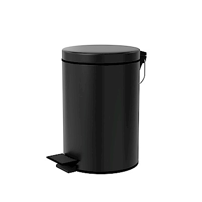 TRENY 加厚 緩降 不鏽鋼垃圾桶 8L (霧黑)