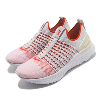 Nike 慢跑鞋 React Phantom Run 女鞋 襪套 輕量 透氣 舒適 避震 路跑 白 橘 CJ0280003