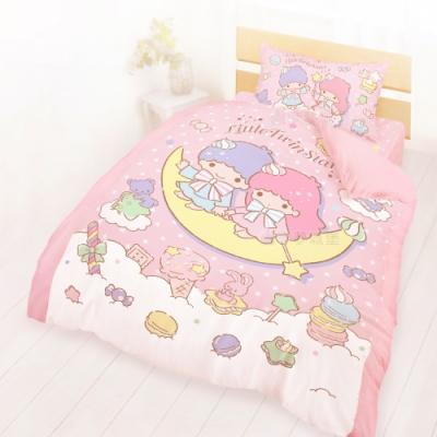 享夢城堡 單人床包雙人兩用被套三件組-雙星仙子Little Twin Stars 月光童話-粉