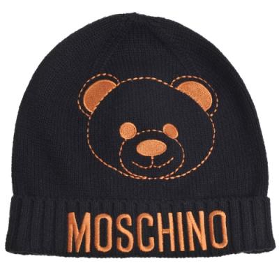 MOSCHINO TEEN 品牌TOY小熊字母LOGO混羊毛毛帽(黑)