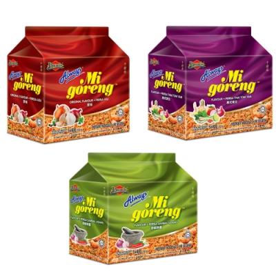馬來西亞 Always 乾撈麵經濟包(80g*5P) 8包入口味任選 (原味/泰式酸辣/香蝦味辣醬)