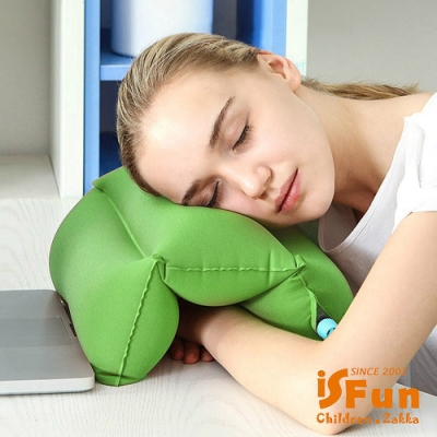 iSFun 便利充氣 旅行居家靠墊趴睡午睡枕 隨機色